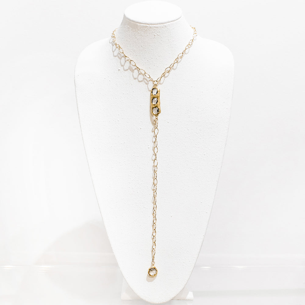 Blaire 18 Karat Gold Crystal Necklace