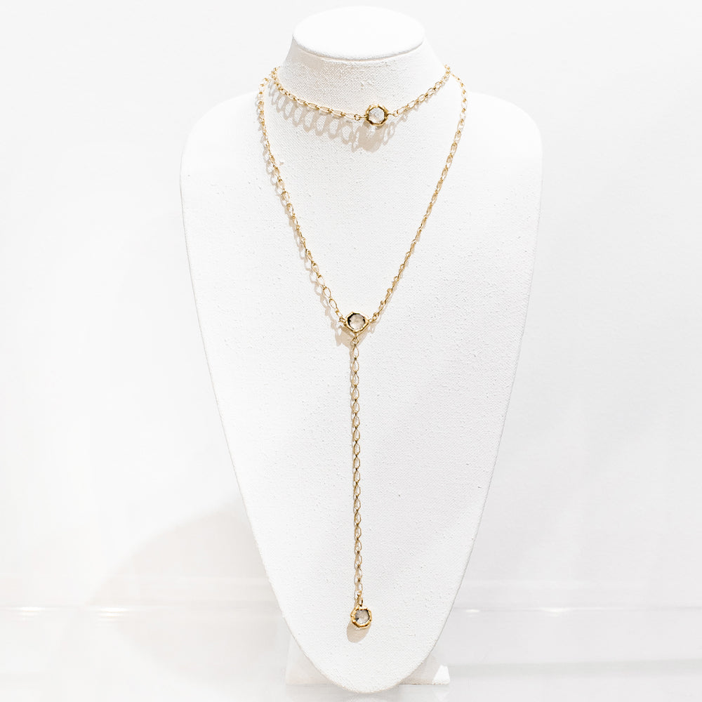 Brooklyn 18 Karat Gold Crystal Necklace