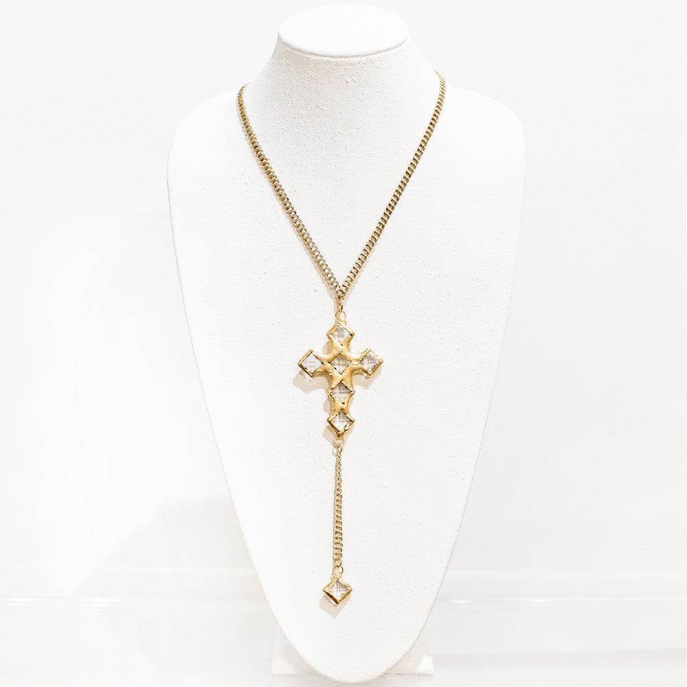Camila 18 Karat Gold Crystal Cross Necklace