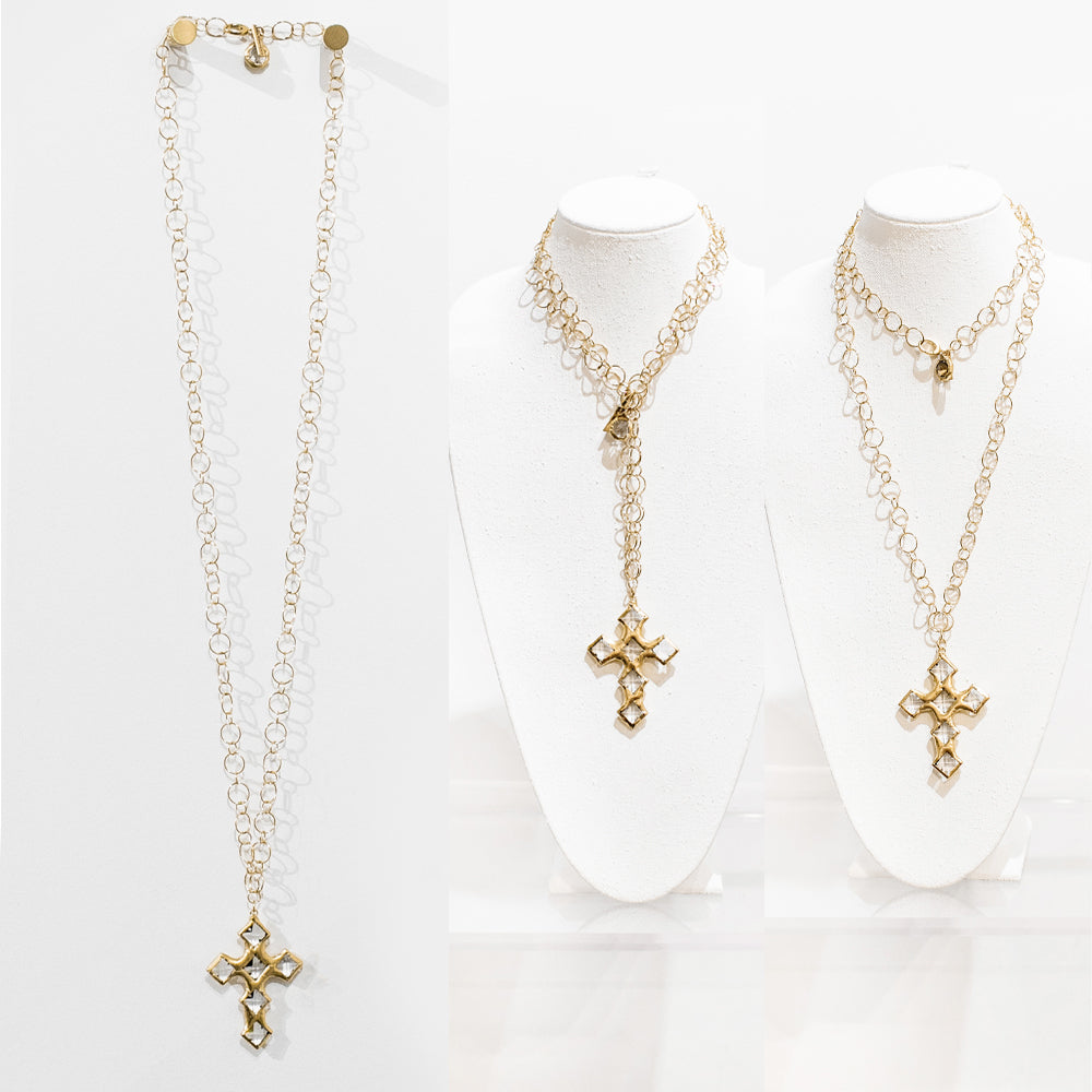 Dakota 18 Karat Gold Crystal Cross Necklace