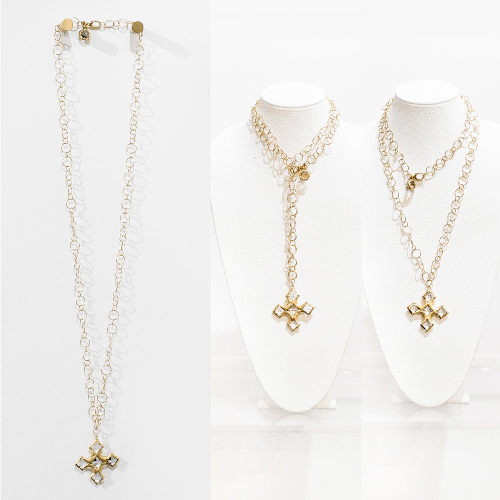 Elena 18 Karat Gold Crystal Cross Necklace