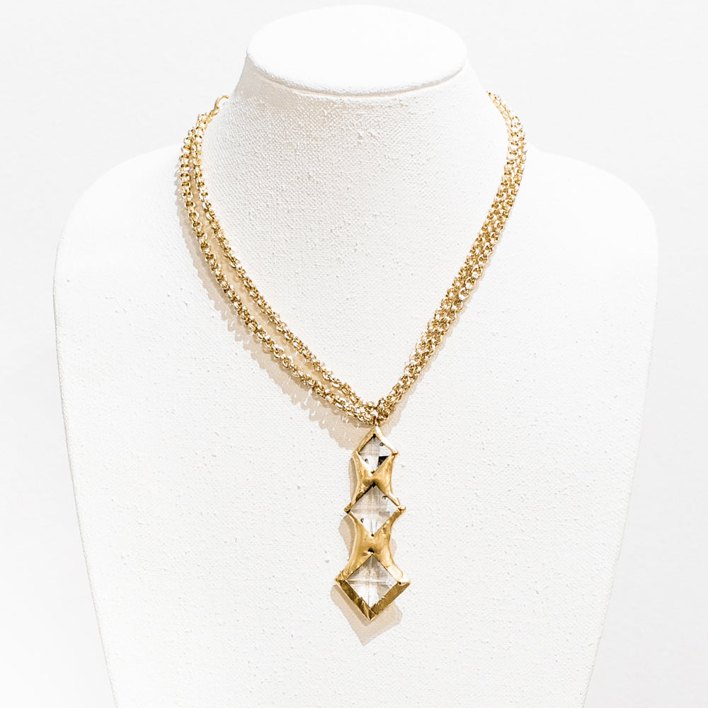 Kennedy 18 Karat Gold Crystal Necklace