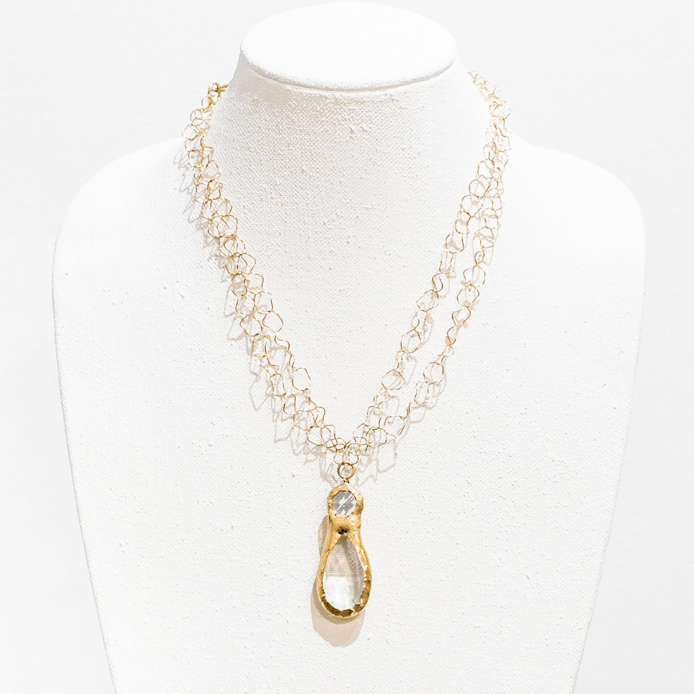 Lilly 18 Karat Gold Crystal Necklace