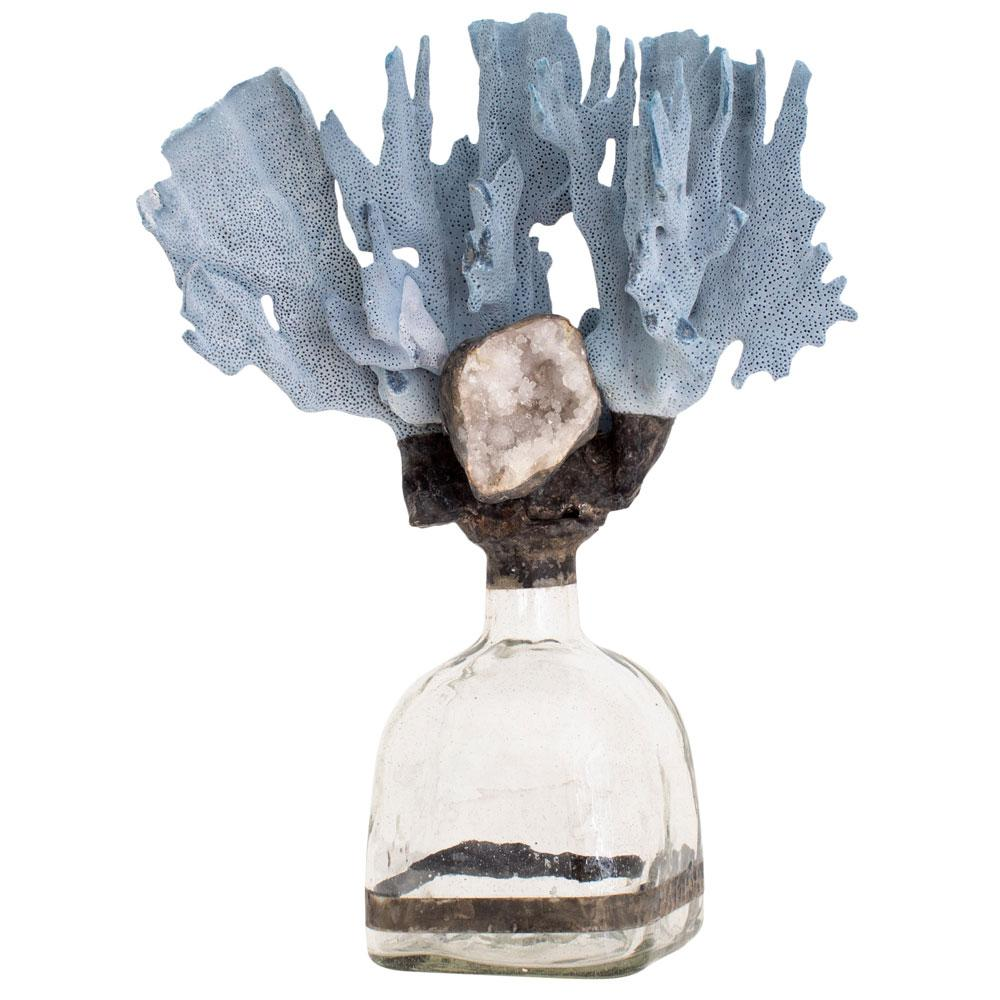 Blue Coral Geode Bottle