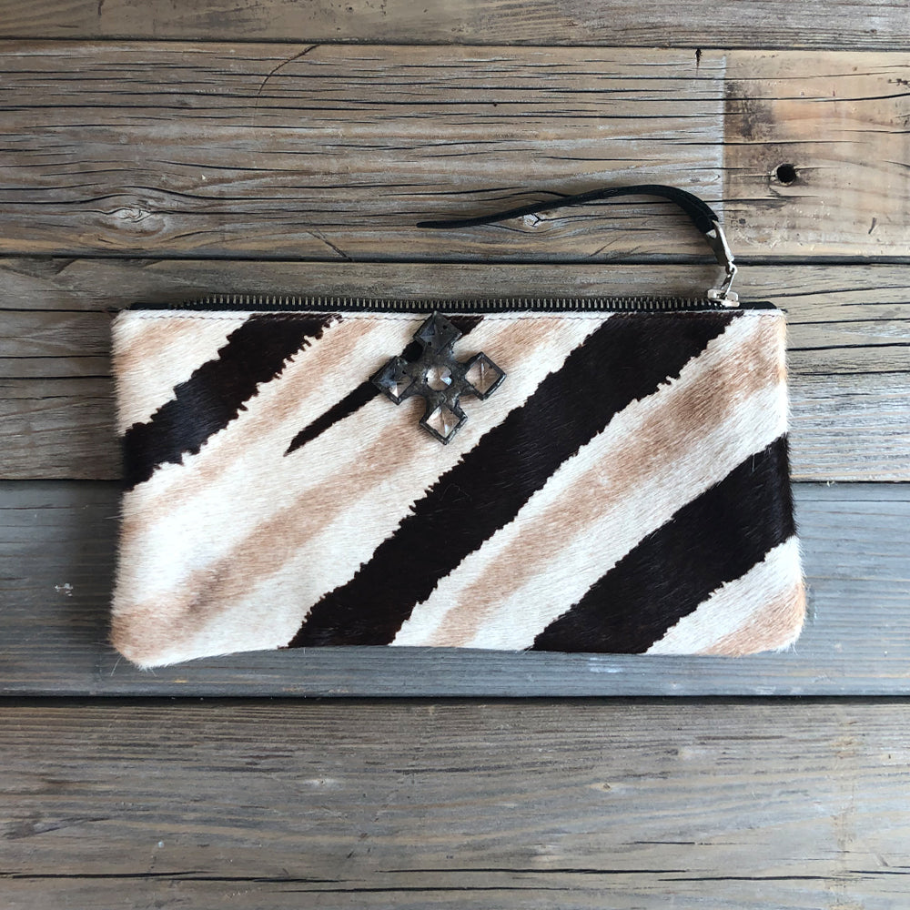 Zelle Natural Zebra Hide Wallet/Clutch