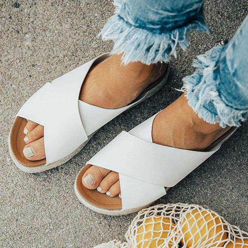 2019 New Fashion Slide-on Open Toe Platform Sandals