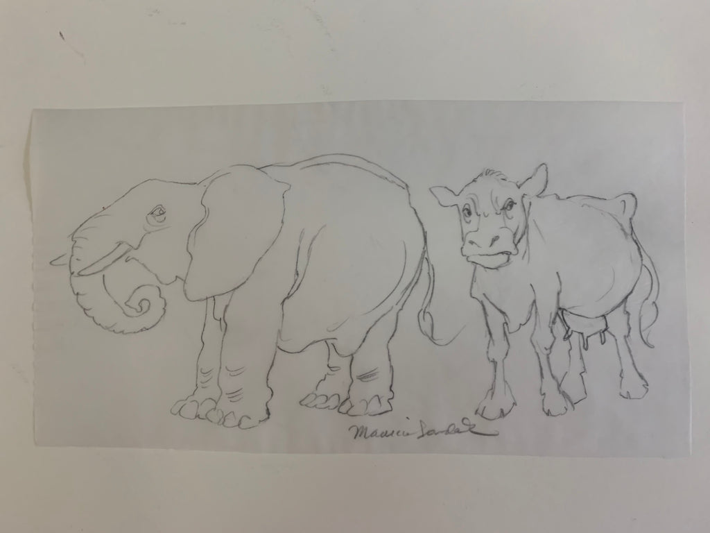 Elephant and Cow Original Drawing