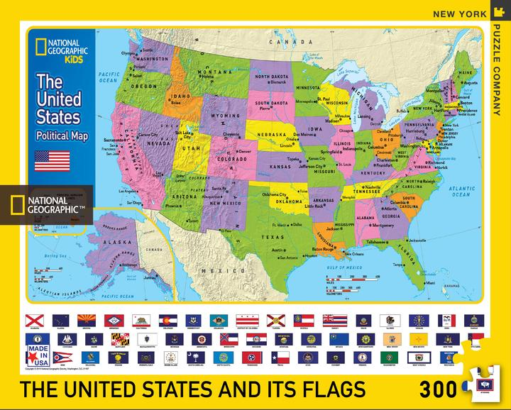 The USA and Its Flags 300 Piece Puzzle