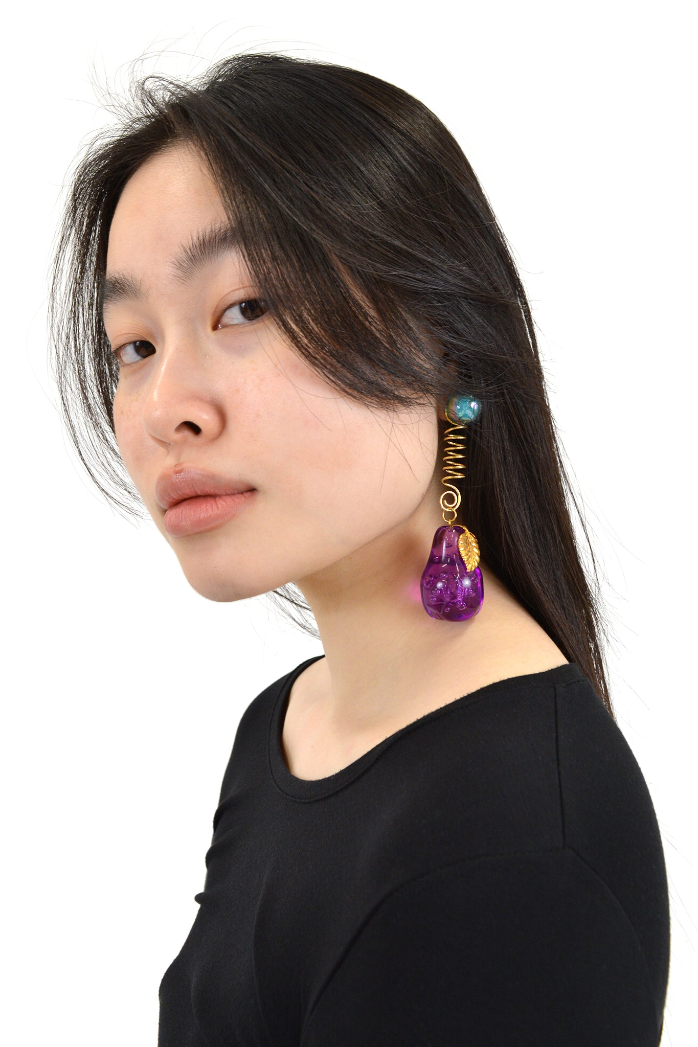 Florence Tétier for Neith Nyer Pear Earring, Purple