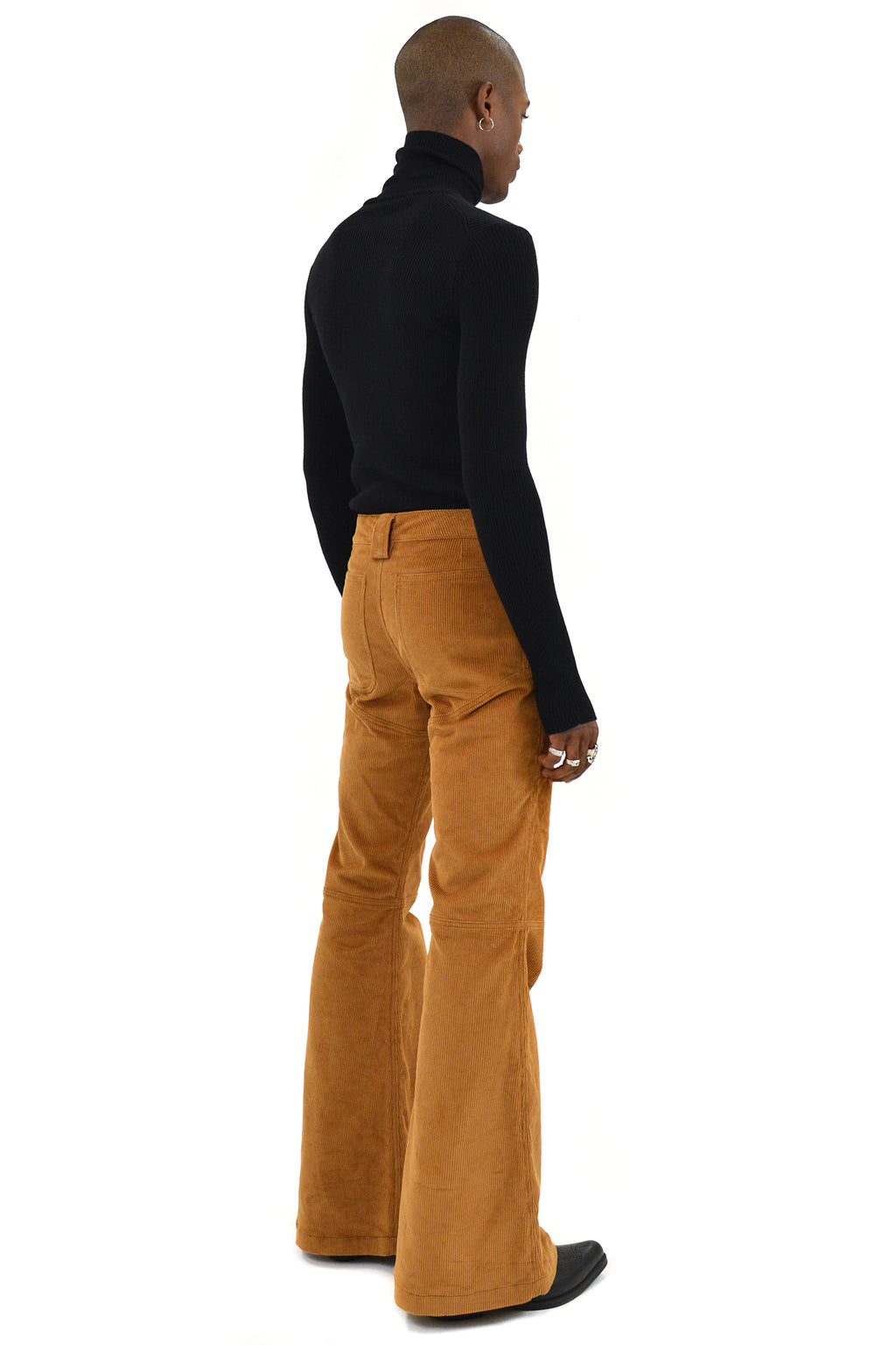 Telfar 3-Panel Boot-Cut Corduroy Pants, Brown