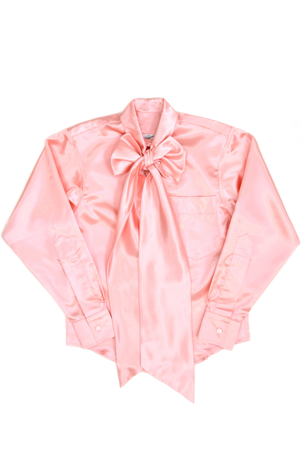 Vaquera Pink Satin Bow Button Down