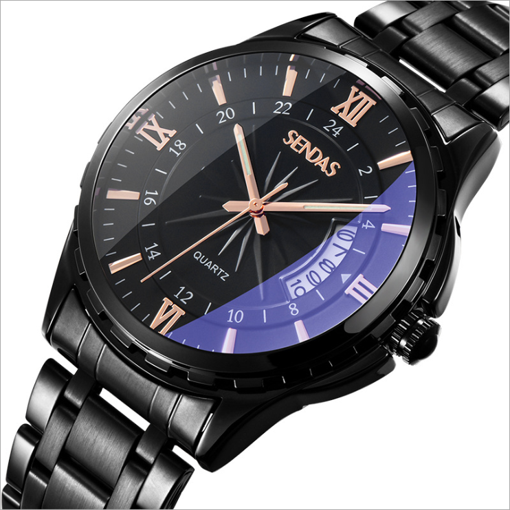 Blu-Ray Glass Noctilucence Business Waterproof Herrenuhr