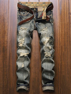Straight Leg Frayed Ripped Jeans