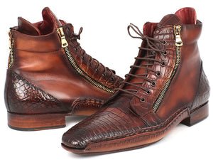 Hand Made Collections - Genuine Crocodile & Calfskin Handmade Zipper Boots
