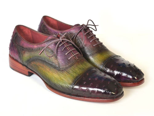 Hand Made Collections -  Green & Purple Genuine Ostrich Cap toe Oxfords