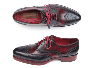 Hand Made Collections - Men's Triple Leather Sole Wingtip Brogues Navy & Red