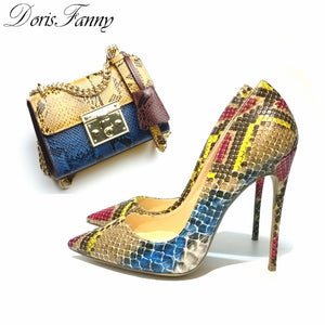 Snake printed ladies shoes and bags matching set