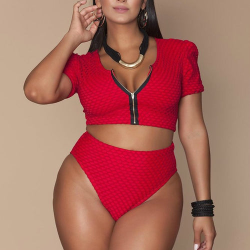 Plus Size Swimsuit - High Waisted 2 Pcs Swimwear Short Sleeve
