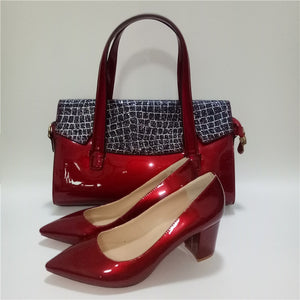 Red Thick Shoes With Matching Bag - Shining Leather slip on shoes