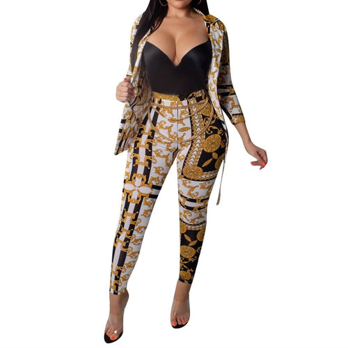 Gold Chain Printed Two Piece Set Women Tracksuits