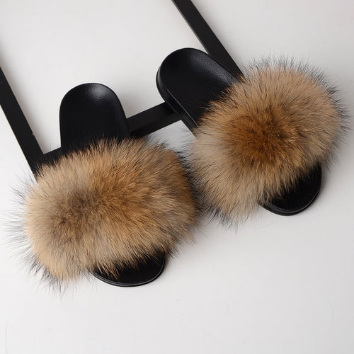 Real Fox Fur Slippers - Black, Blue, Beige, Chocolate. Dark Grey, Gray,  Army Green, Light Yellow, Light Green