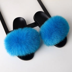 Real Fox Fur Slippers  - Sky Blue, White, Yellow