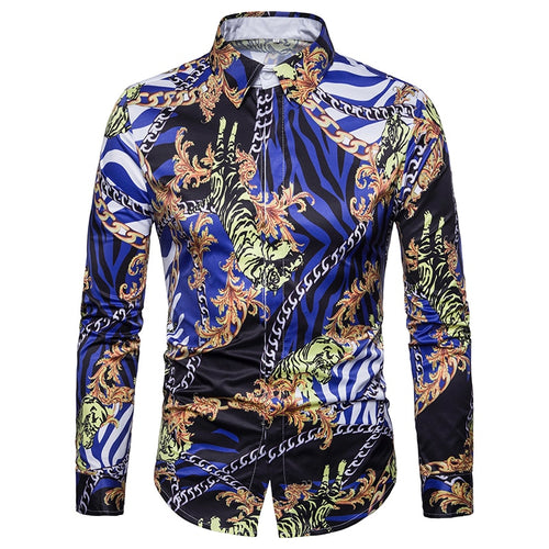 Men Casual Slim Fit Chain Digital Print  Shirts