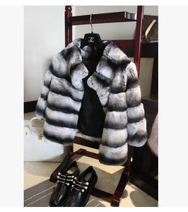 Thick Chinchilla Real Fur Coat For Women