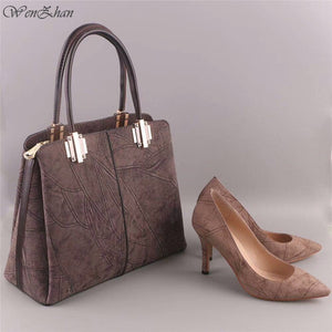 leather women's high heel shoes and handbag set