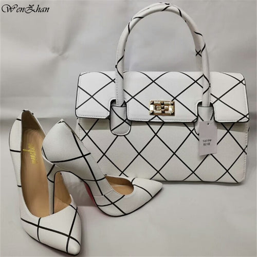 Soft Heels Women Pumps With Handbag Sets