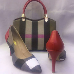 Striped Style Women Soft Pumps Shoes Match Women Handbag