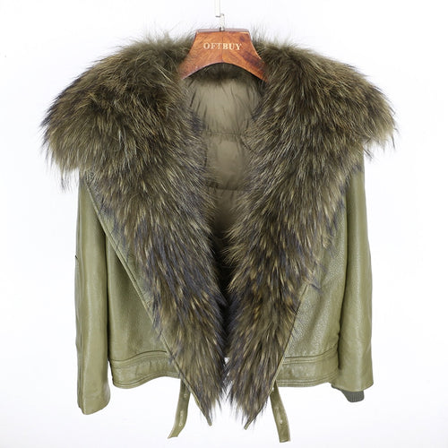 New Casual Real Raccoon Fur Collar Real Leather Bomber Down Jacket