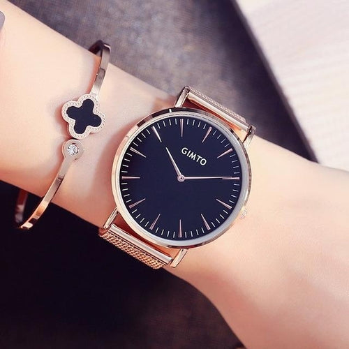 GIMTO Brand Stainless Steel Luxury Fashion Quartz Women's Casual Gold Watch