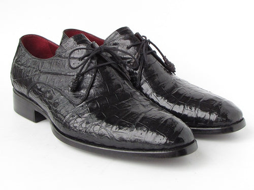 Hand Made Collection -  Black Genuine Crocodile Derby Shoes