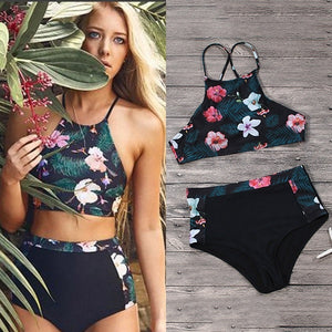 High Waist Leaf Floral Printed Bikini