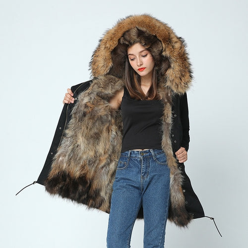 Long winter jacket women outwear thick parkas raccoon natural real fur collar