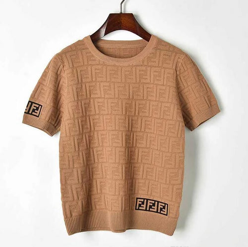 Double F Pullover hollow short sleeve knitted  blouse