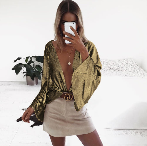 Gold Long Flare Sleeve Chic Shirts Outerwear Thin Club Blouse