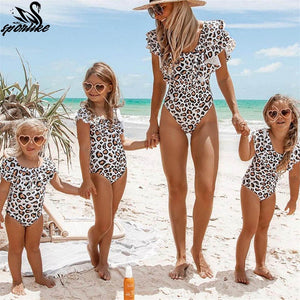 Family Bathing Suits Mother & Girl - Leopard Bikini Swimsuit