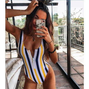 One Piece Backless striped Monokini Swimsuit