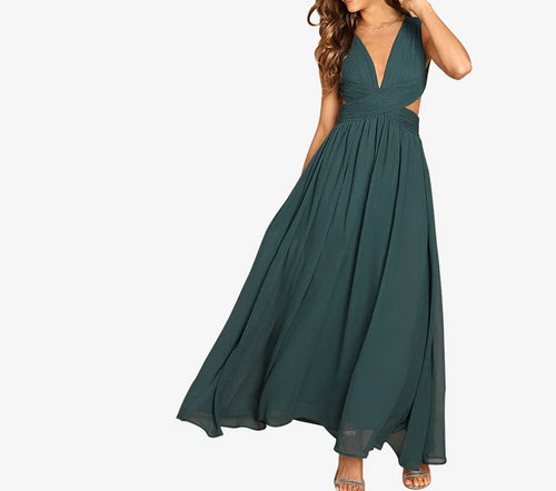 Green V-Neck Crisscross Waist Prom Dress