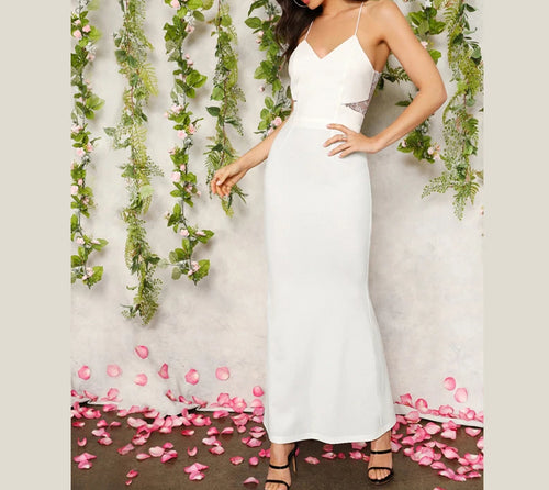 White Cutout Lace Back Cami Prom Dress
