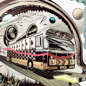 """INTERDIMENSIONAL BUS TRAVEL"" by Woshibai, limited edition of 100"