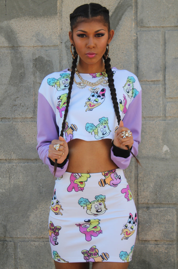 Crop Cartoon Acid print hoodie