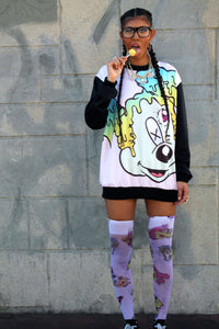 Worped Acid Print Thigh Highs