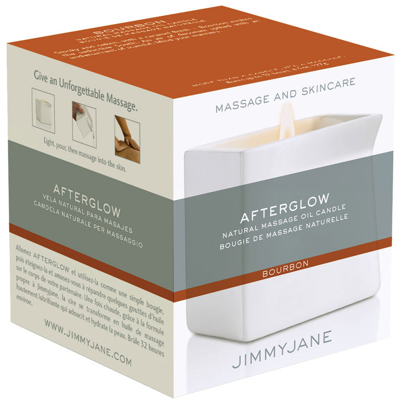 Jimmyjane After Glow Natural Massage Oil Candle- Bourbon