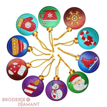 Lot de 10 boules multicolores décorations de Noel broderie diamant