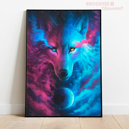 Loup et lune kit diamond painting