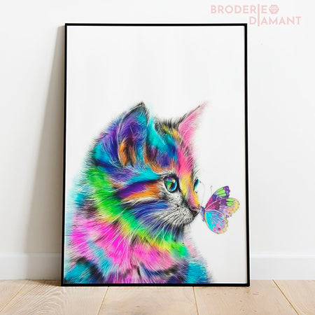 diamond painting chat multicolore