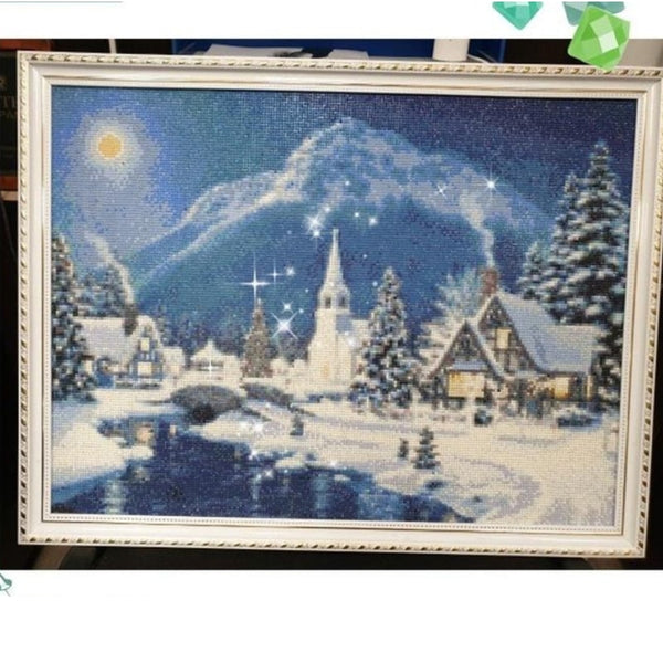 diamond painting paysage d'hiver